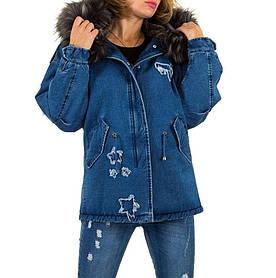 Джинсовая куртка с мехом зимняя женская  (Европа), Синий