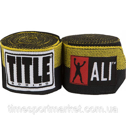 Бинты TITLE BOXING MUHAMMAD ALI SEMI-STRETCH HAND WRAPS YELLOW (4,5 м), фото 2