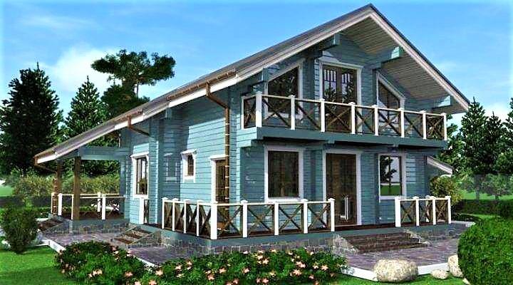 Дом деревянный  из профилированного бруса 15х13 м