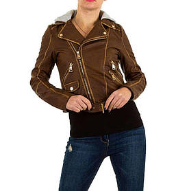 Байкерская куртка женская с капюшоном  (Европа), Коричневый