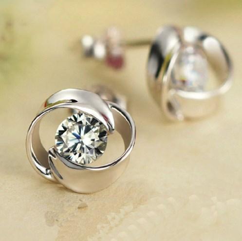 Серебряные серьги Роза стерлинговое серебро 925 проба (код 1217)