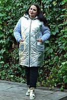 Стеганная куртка комбинированная, с 42 по 82 размер, фото 1