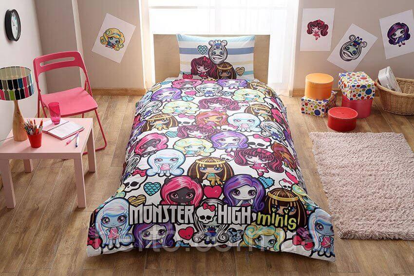Подростковый детский комплект белья TAC Monster High Minis  простынь на резинке