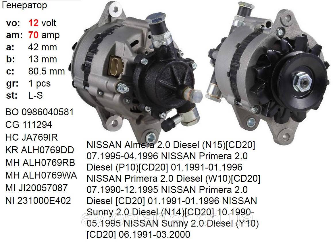 Генератор б/у NISSAN Almera Primera Pulsar Sunny 2.0 Diesel P10 N14 N15 W10 Y10