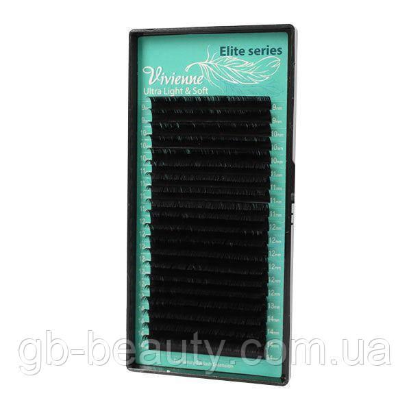 Черные ресницы серия Elit софт растяжка 0,15 D 7-16 (20 лент)