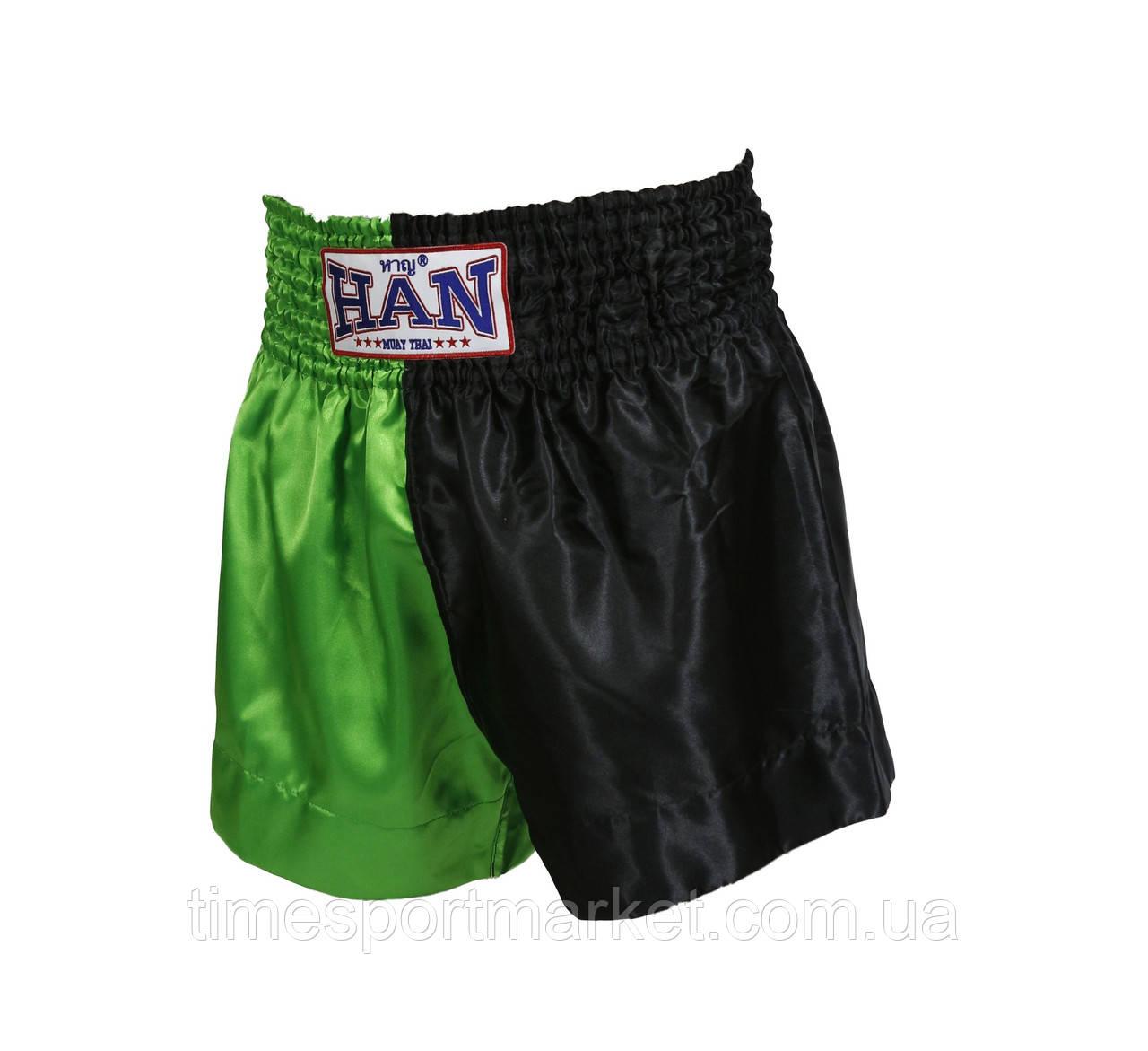 ШОРТЫ HAN MUAY THAI SHORTS GREEN/BLACK