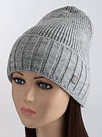 Женская шапка с отворотом Кармен светло-серая