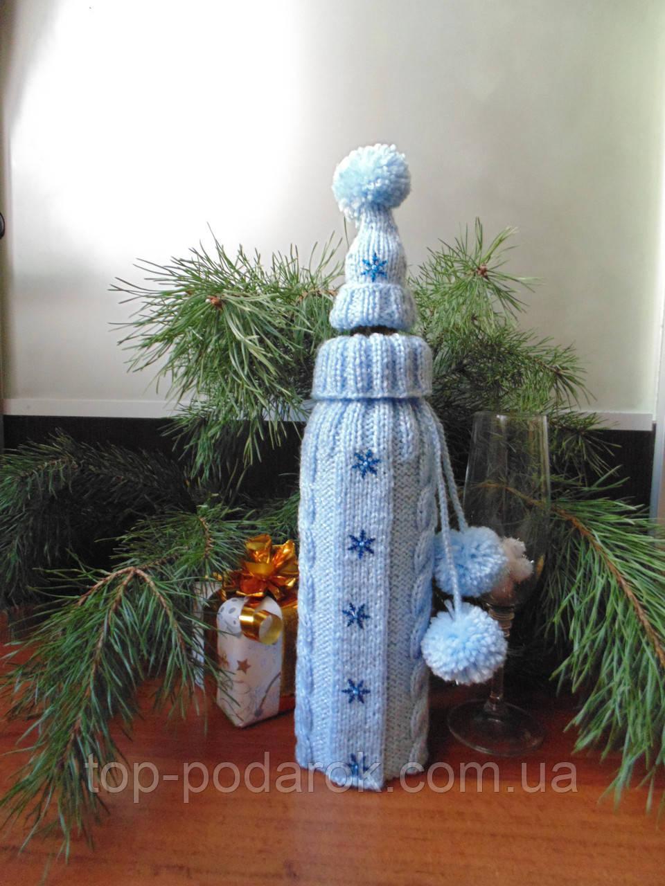 Новорічна прикраса на пляшку свитр і шапка Санта