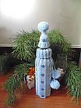 Новорічна прикраса на пляшку свитр і шапка Санта, фото 2