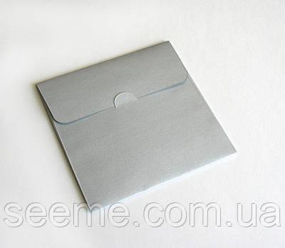 Конверт для дисков из перламутровой дизайнерской бумаги, 130х130 мм, цвет silver