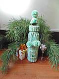 Новогоднее украшение на бутылку свитр и шапка Санта, фото 2