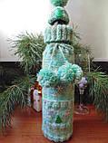 Новогоднее украшение на бутылку свитр и шапка Санта, фото 3