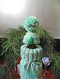 Новогоднее украшение на бутылку свитр и шапка Санта, фото 4