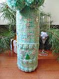 Новогоднее украшение на бутылку свитр и шапка Санта, фото 5