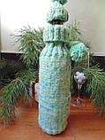 Новогоднее украшение на бутылку свитр и шапка Санта, фото 7