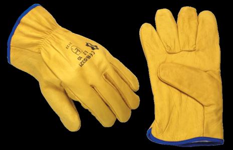 Перчатки кожаные рабочие мягкие, желтые