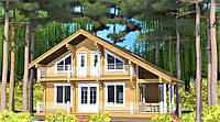 Деревянный дом из профилированного клееного бруса 14х12 м, фото 1