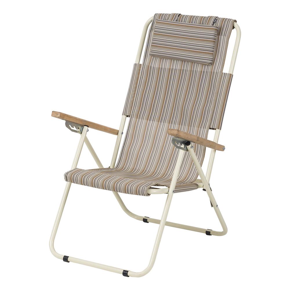 """Кресло-шезлонг для сада, дачи  """"Ясень"""" d20 мм (текстилен бежевая полоса)"""