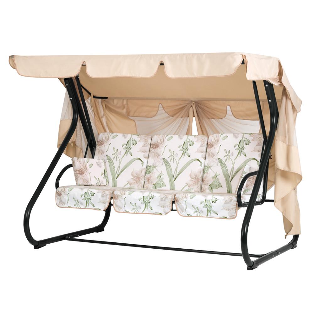 """Качели садовые """"Вилла"""" ТМ Витан для всей семьи, для детей и взрослых  (ткань Бязь, Колокольчики)."""