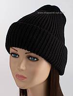 Стильная вязаная шапка Регина черного цвета