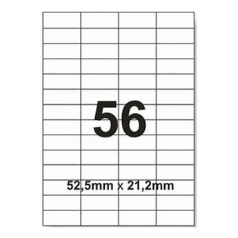 Этикетки с клейким слоем А4 100 шт/уп  56 на листе 52,5*21,2 мм
