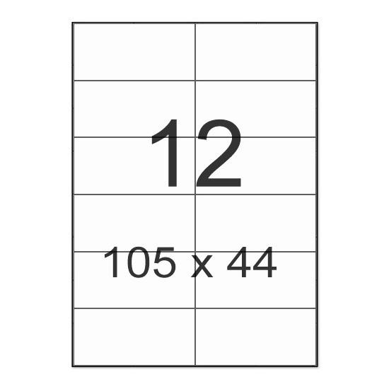 Этикетки с клейким слоем А4 100 шт/уп  12 на листе 105*44 мм