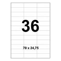 Этикетки с клейким слоем А4 100 шт/уп  36 на листе 70*24,75 мм
