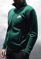 Толстовка Nike (Найк) / Мужская кофта на молнии из трикотажа с начесом - темно-зеленая