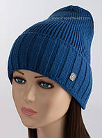 Вязаная женская шапочка Кармен синяя