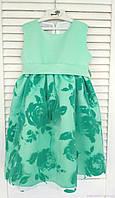 Платье с бархатными цветами для девочки, цвета ментол, код: 7009, размеры: от 80 до 116