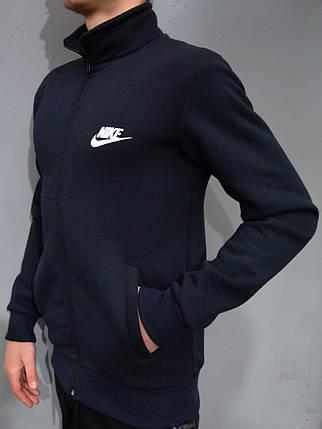 Толстовка Nike (Найк) / Остались размеры: 44,46,48 / Мужская кофта на молнии, воротник стойка - темно-синяя, фото 2