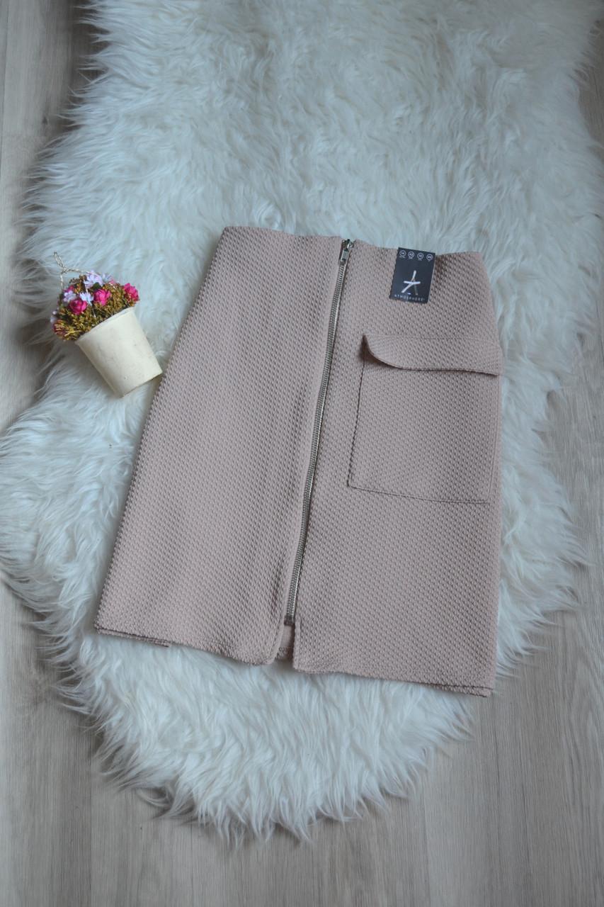 Новая фактурная юбка с молнией и накладным карманом Atmosphere
