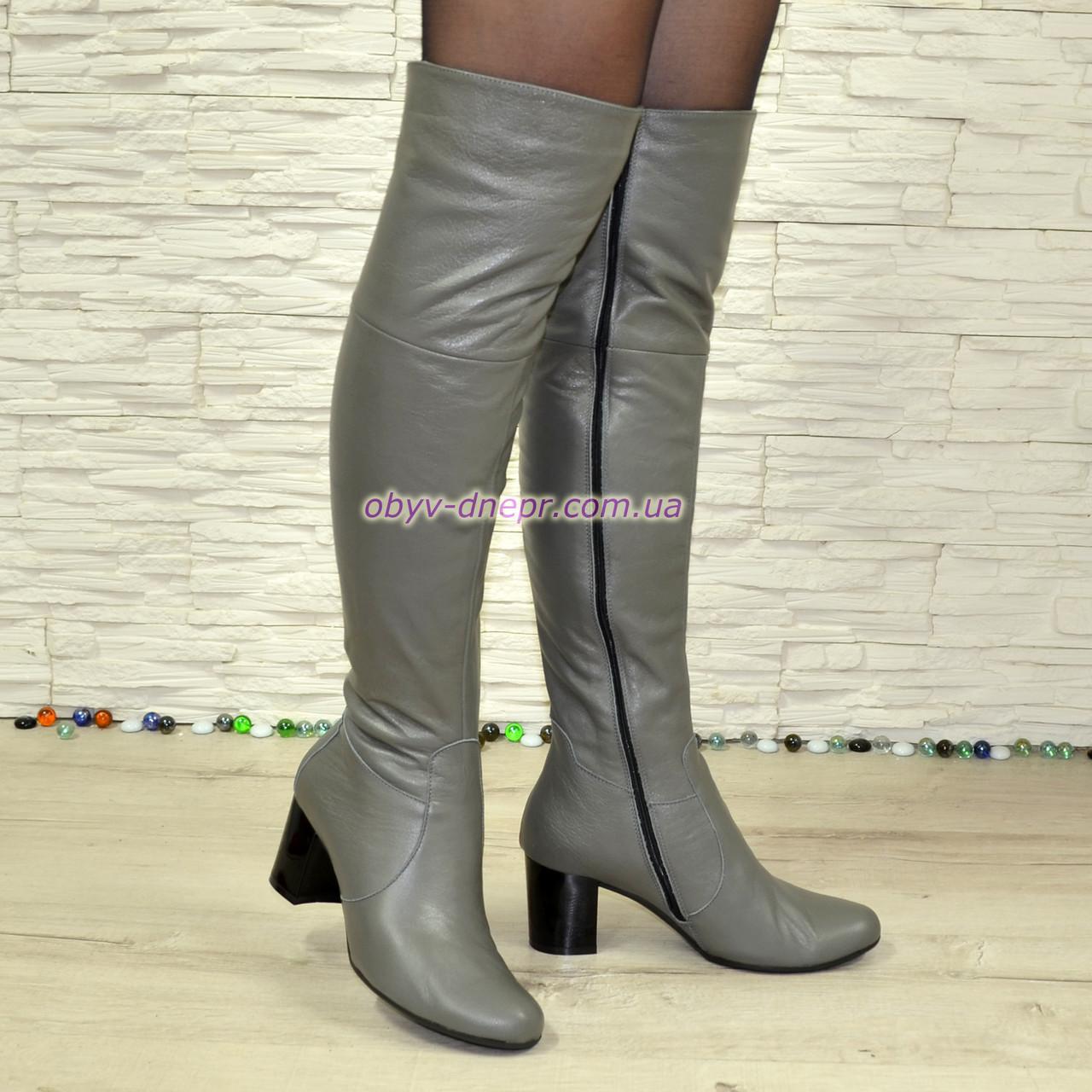 Зимові шкіряні ботфорти на стійкому каблуці, колір сірий