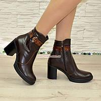 Полуботинки женские кожаные зимние на устойчивом каблуке, цвет коричневый, фото 1