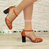 Женские кожаные босоножки на высоком устойчивом каблуке, цвет рыжий, фото 2