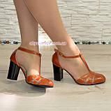 Женские кожаные босоножки на высоком устойчивом каблуке, цвет рыжий, фото 3