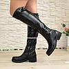 Ботфорты женские черные кожаные   на утолщенной подошве, фото 4