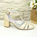 Женские кожаные босоножки на устойчивом каблуке, цвет бежевый, фото 2