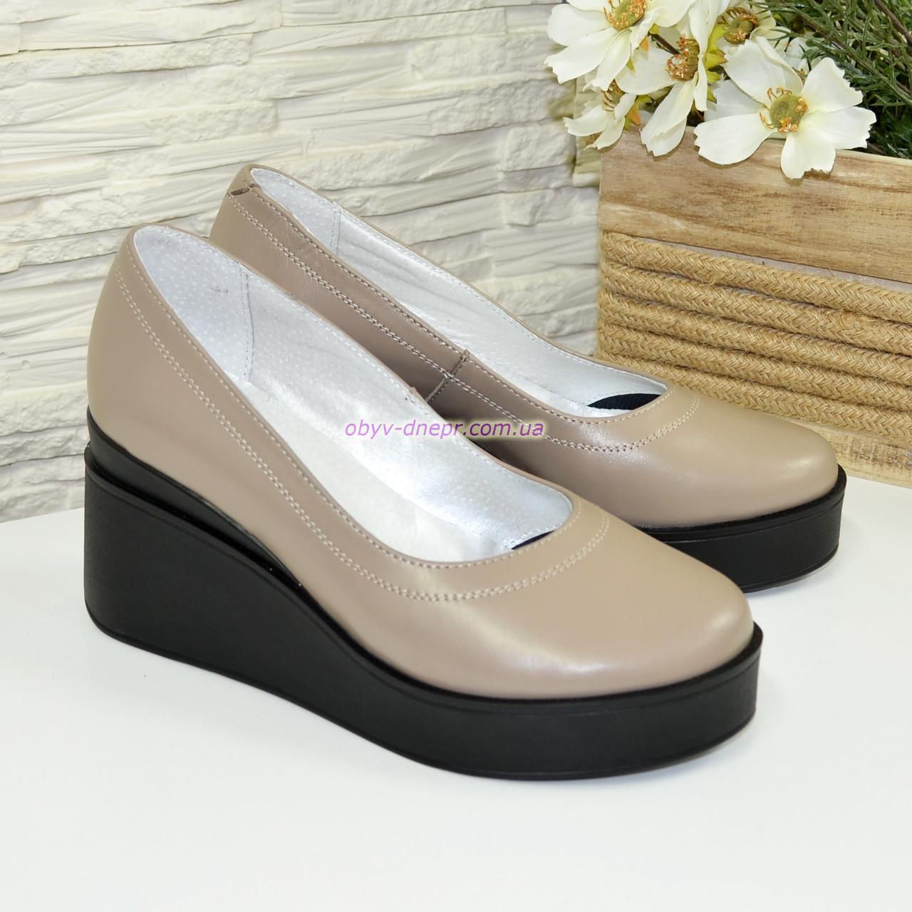 Женские кожаные туфли на устойчивой платформе, цвет визон