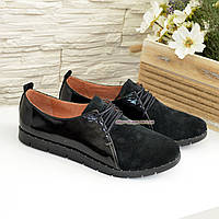 ba312d660007 Туфли женские комбинированные из натуральной замши и лаковой кожи, на  шнурках