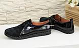Туфли женские комбинированные из натуральной замши и лаковой кожи, на шнурках, фото 4