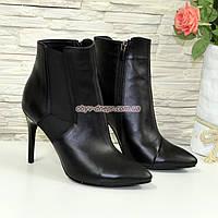 Ботинки кожаные женские   на шпильке