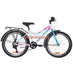 Подростковый велосипед Discovery Flint MC 24 дюйма бело-голубой с розовым