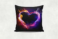 Подушка декоративная с принтом Сердце подарок ко дню влюбленных
