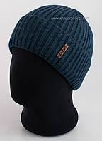 Классическая шапка с отворотом Oskar резинка 2х2 джинс