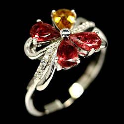 Турмалин разноцветный, серебро 925, кольцо, 1302КЦТ