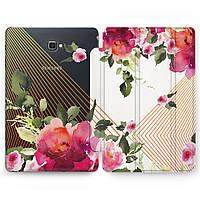 Чехол книжка, обложка (Красные пионы, линии) для планшетов Samsung Galaxy Tab модели A8 9.7 E9.6 8.0 таб S4 S3 S2 A10.5 A10.1 2016 2017 2018