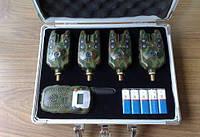 Набор сигнализаторов поклевки с беспроводным пейджером ( 4 сигнализатора прклевки + алюм. кейз) 120м, фото 1