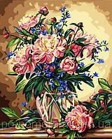 Картина по номерам Menglei MG081 (КН081) Роскошные пионы 40 х 50 см 950 цветы