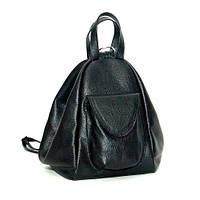 Оригинальный женский кожаный рюкзак-сумка Асти черный